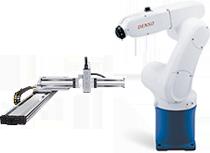 A cartesian robot and an articulated robot