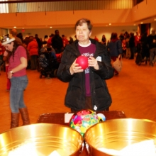 Cindy Davis plays a game at the Brandeis Winter Carnival in January 2013