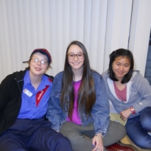 Participant Kristina Smith enjoying Brandeis Buddies with two student volunteers