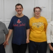 Watch City Self Advocates Officers for 2015: Left to right: Joe O'Connell, President; John Shread, Vice President, Kristina Smith, Secretary; and Janice Nowlan, Treasurer