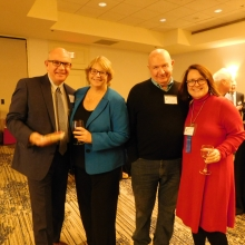 Past Board president Bob Clement, WCAC-TV Executive Director Maria Sheehan, WCAC-TV Board President Justin Barrett and Board Member Kelly Hill gather at the farewell reception for CEO Roz Rubin.