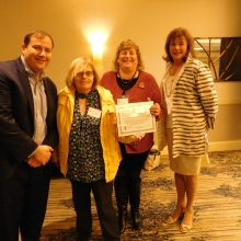 Drew Echolson, Waltham Public Schools superintendent, and Kathy Horrigan, former Board member, with Dr. Nadene Stein, recipient of the Community Leadership Award for support of our School to Work Transitions program.