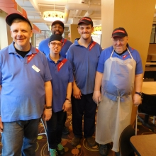 The Group Supported Employment (GSE) crew work at Sherman Dining Hall.