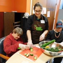 Michelle Reva and Mary Ann cooking with Healthy Waltham in March.
