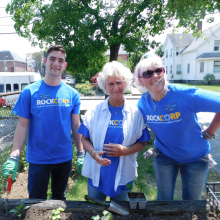 Staff members of the Rockland Trust Moody Street branch visited in May to help Day Habilitation participants plant flowers and vegetables in our raised beds.