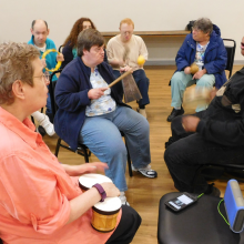 A music session with CBDS participants in the Boys & Girls Club's music room.