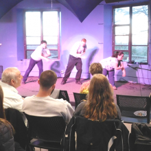 """GSE participants perform a dance routine at """"Story Time Things You Should Know"""", an on-campus event hosted by Brandeis Buddies where individuals with disabilities shared their stories and talents."""