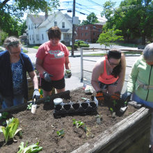 At left, CBDS participants enthusiastically   prepare the garden bed for planting.