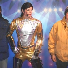 Recreation participants visit with Michael Jackson at the Dreamland Wax Museum in Boston.