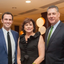 GWArc CEO Roz Rubin with gala emcee Chris McKinnon (l), WBZ-TV News Anchor, and honoree Peter Koutoujian, Middlesex County Sheriff.