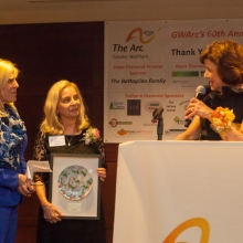 Lisa Battaglino (l) and Roz Rubin present Mary Leo, GWArc staff member for thirty years, with the John L. Battaglino Award of Excellence. The award is in honor of Lisa's father.