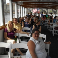 Participant Sheila enjoying the Charles River Boat cruise