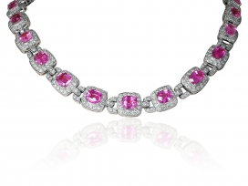 18 kt  Pink Sapphire 65ct and diamond Necklace