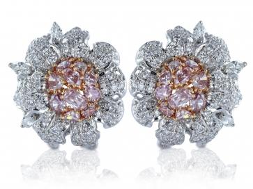 Natural Pink Diamond Clip Earrings
