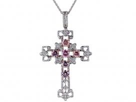 2.49ct Natural Pink Diamond Cross Pendnant