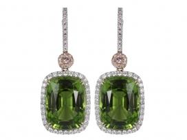 19.73ct Cushion Cut Periot & Pink Diamond Earrings