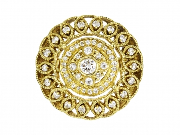 Yellow Gold .61ct Diamond Open Work Ring