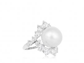 13.85mm South Sea Pearl & Diamond Estate Cluster Ring