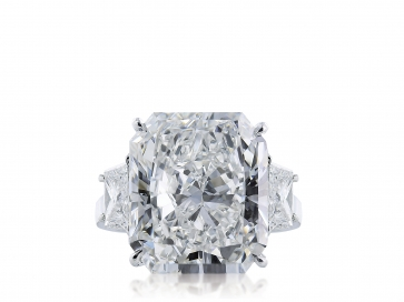 11.29 ct GIA F/VS1 Radiant Cut Diamond 3 Stone Ring