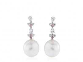 South Sea Pearl & Pink Diamond Drop Earrings