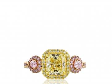 1.67 carat GIA FY VVVS2 Canary & Pink Diamond Ring