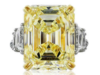 19.02ct Emerald Cut Canary Diamond Ring