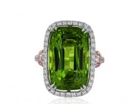 14.63ct Peridot & Pink Diamond Ring