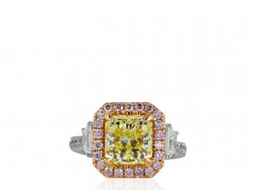 3.02ct GIA FIY VS1 Canary & Pink Diamond Ring
