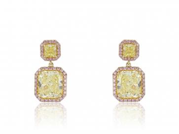 6.28CTW Radiant Fancy Yellow Diamond & Pink Diamond Earrings