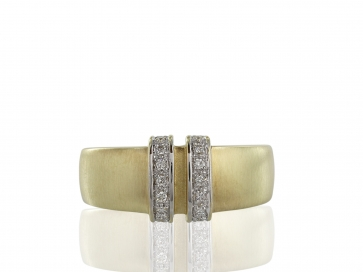 14 Karat Two Tone Gold and Pave Ring,