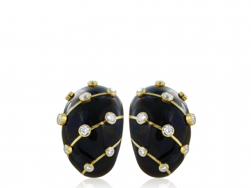 Schlumberger Black Enamel Earrings