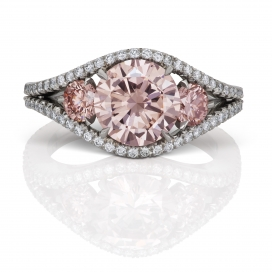 GIA Certified 1.90 Fancy Brownish Pink flanked by 0.97 carats FP Diamond Ring