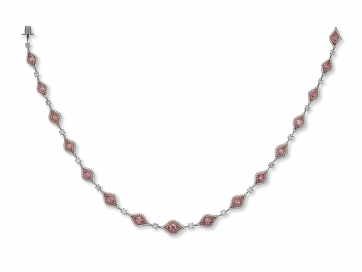 Platinum 5.80ct Argyle Fancy Intense Pink Diamond Necklace (Ballerina Necklace)