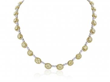 10.22 Carat Natural Fancy Yellow Diamond Necklace