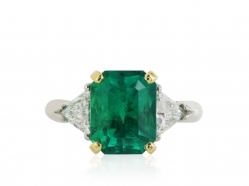Plat 18KT YG 3.54CT Emerald and .77CT Diamond Ring