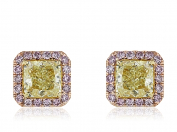7.83ctw GIA Certified Fancy Yellow and Argyle Pink Diamond Earrings