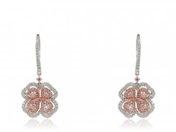 1.83 Carat Pink Diamond Flower Earrings