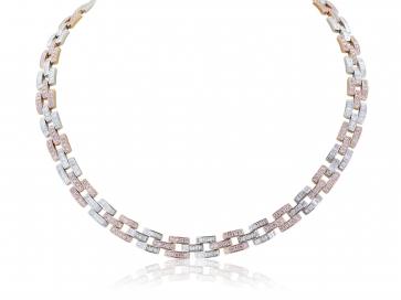 12.81 Carat Argyle Pink Diamond Panther Link Necklace