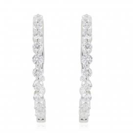 2.85 Carat Diamond Hoop Earrings