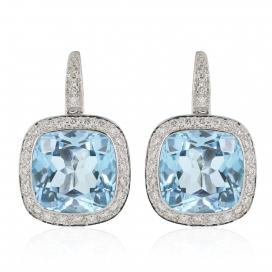 11 Carat Cushion Cut Blue Topaz and Diamond Earrings