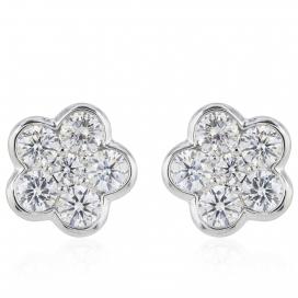 1ct Flower Diamond Stud  Earrings