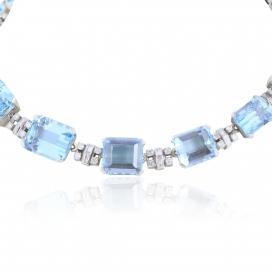 Art Deco 120 Carat Aquamarine and Diamond Necklace