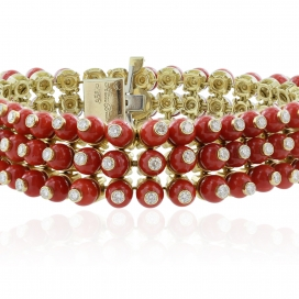 Signed Aletto Bros Coral and 5 Carat Diamond Bracelet