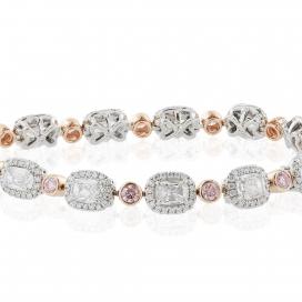 8.16 Carat Cushion cut White/Pink Diamond Bracelet