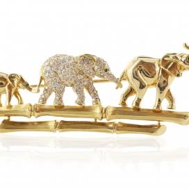 Cartier Three Elephants Walking Pin