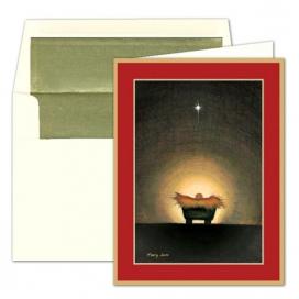 Caspari Star And Creche Christmas Card