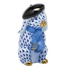 Herend Sapphire Porcelain Beret Bunny Figurine
