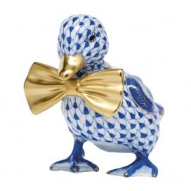 Herend Blue Porcelain Dashing Duckling