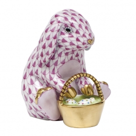 Herend Rasberry Porcelain Rabbit with Basket
