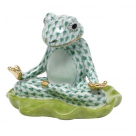 Herend Green Porcelain Yoga Frog Figurine